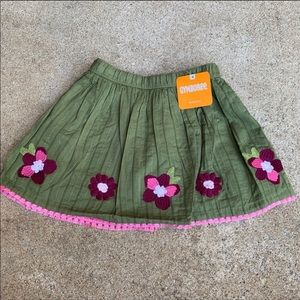 Gymboree | Girls Olive Green Floral Pleated skirt